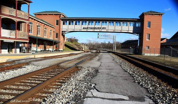 Railroad tracks leading up to the Martinsburg Amtrak depot