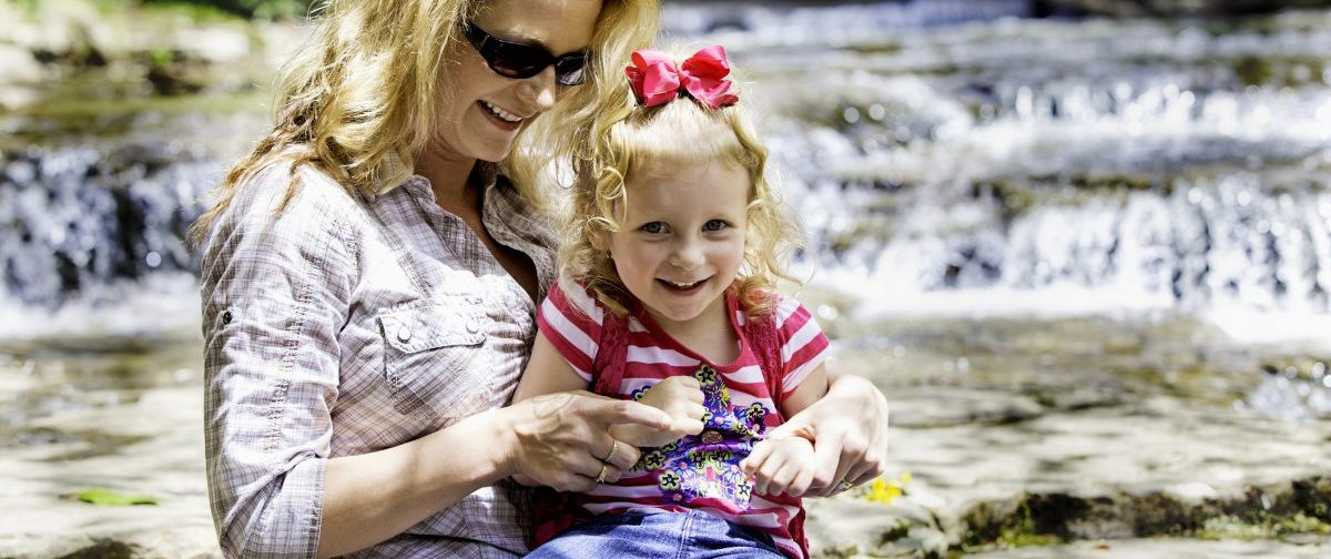 Mother and daughter playing in the New River Gorge, West Virginia