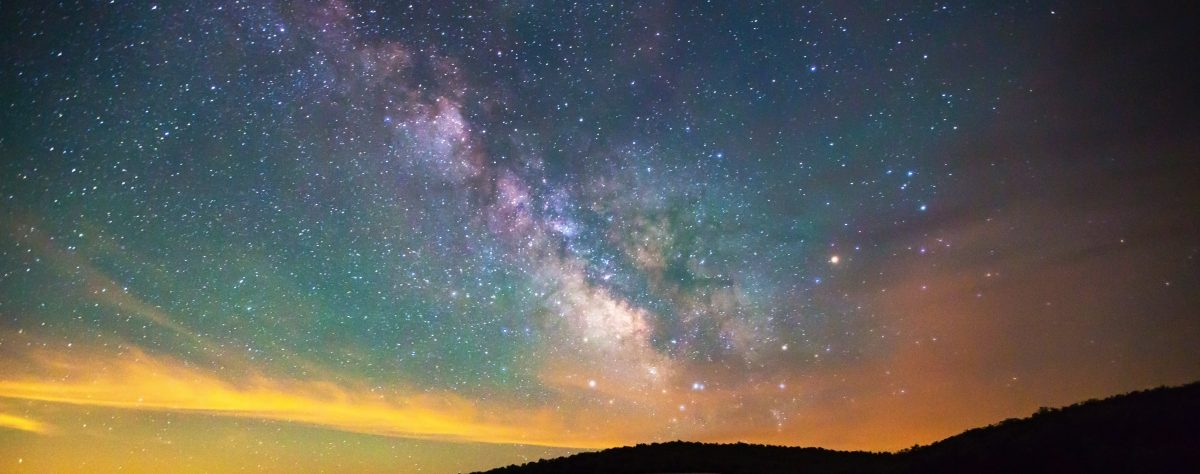 Night sky filled with stars and a nebula, Spruce Knob, West Virginia