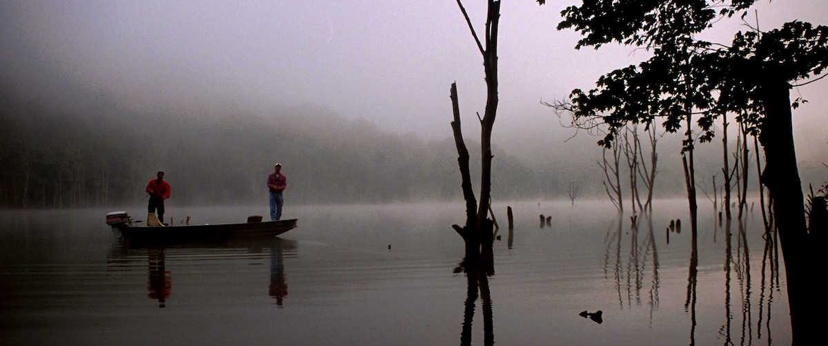 Fishing on a foggy morning at Stonewall Lake, WV