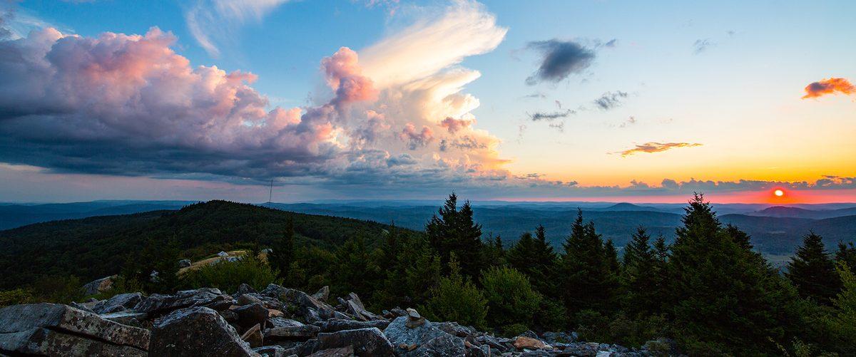 Setting sun at Spruce Knob peak, West Virginia