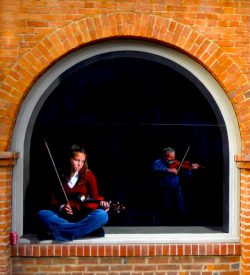 Trompe l'oeil mural of a girl playing violin, Martinsburg, WV