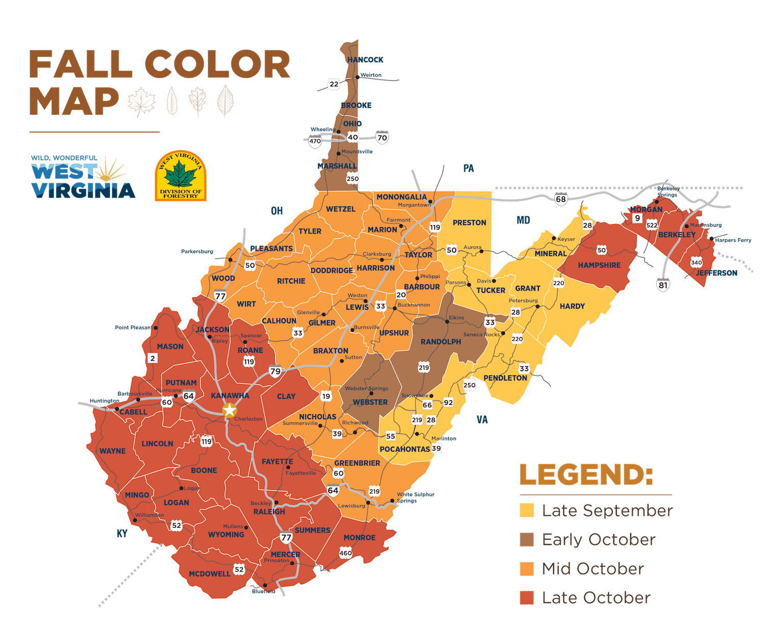 Road map of west virginia with cities