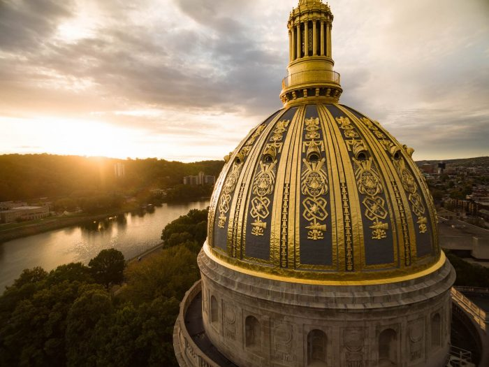 Aerial shot of the capitol building dome in Charleston, WV location of one of ten of the amtracks